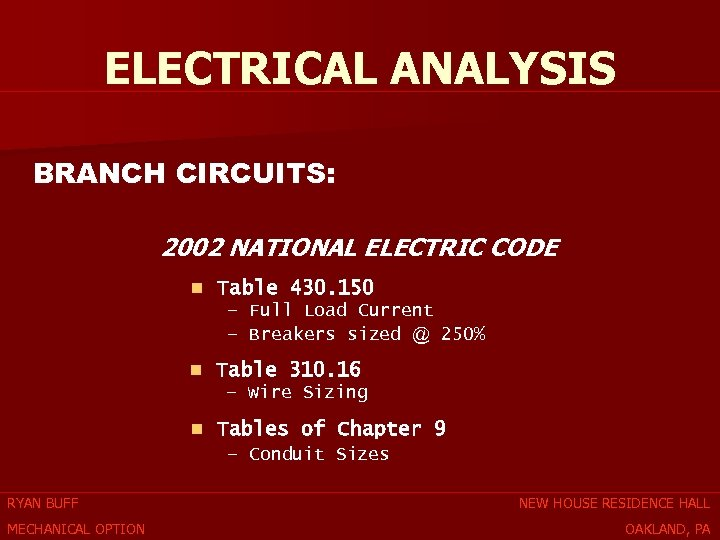 ELECTRICAL ANALYSIS BRANCH CIRCUITS: 2002 NATIONAL ELECTRIC CODE n Table 430. 150 – Full
