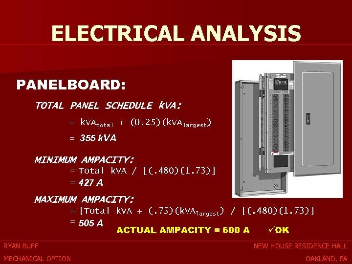 ELECTRICAL ANALYSIS PANELBOARD: TOTAL PANEL SCHEDULE k. VA: = k. VAtotal + (0. 25)(k.