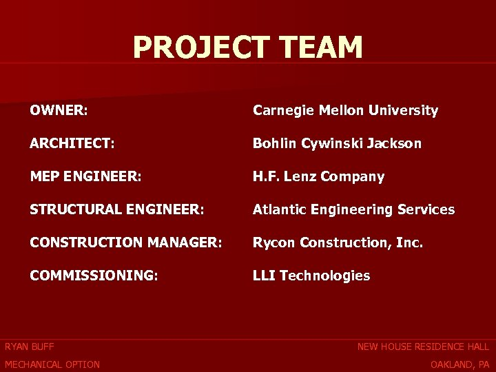 PROJECT TEAM OWNER: Carnegie Mellon University ARCHITECT: Bohlin Cywinski Jackson MEP ENGINEER: H. F.