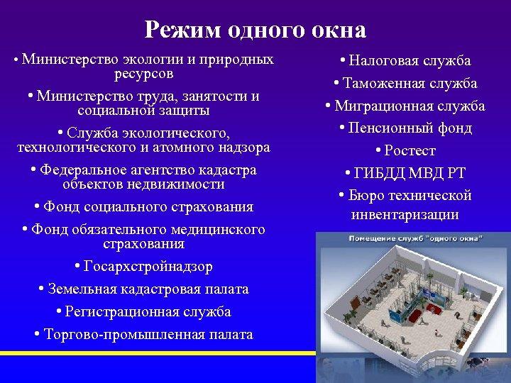 Режим одного окна • Министерство экологии и природных ресурсов • Министерство труда, занятости и