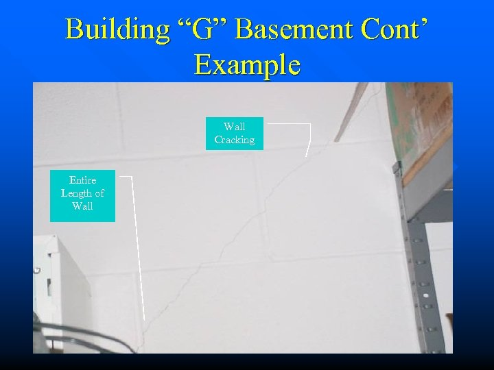 "Building ""G"" Basement Cont' Example Wall Cracking Entire Length of Wall"
