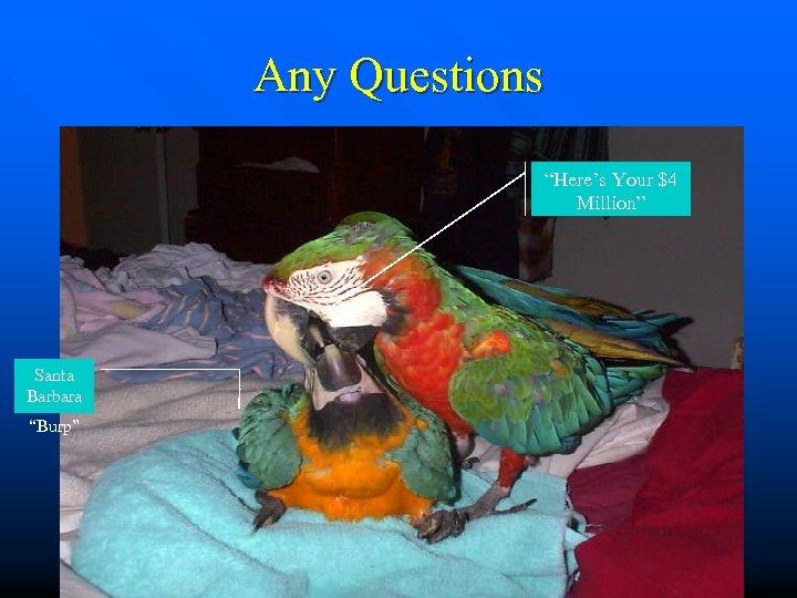 "Any Questions ""Here's Your $4 Million"" Santa Barbara ""Burp"""