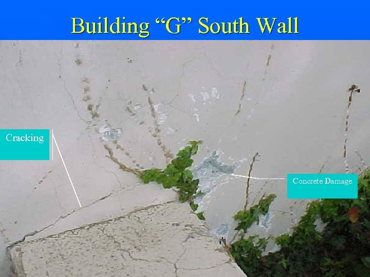 "Building ""G"" South Wall Cracking Concrete Damage"