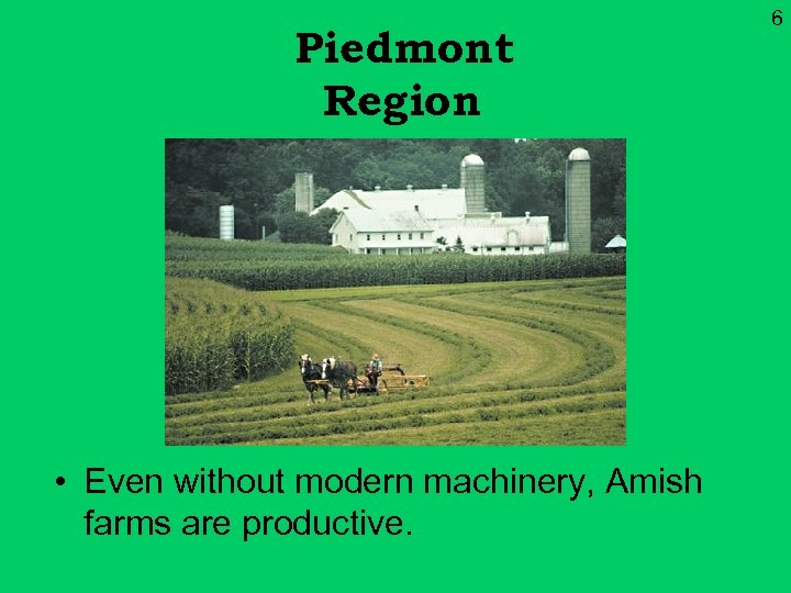 Piedmont Region • Even without modern machinery, Amish farms are productive. 6