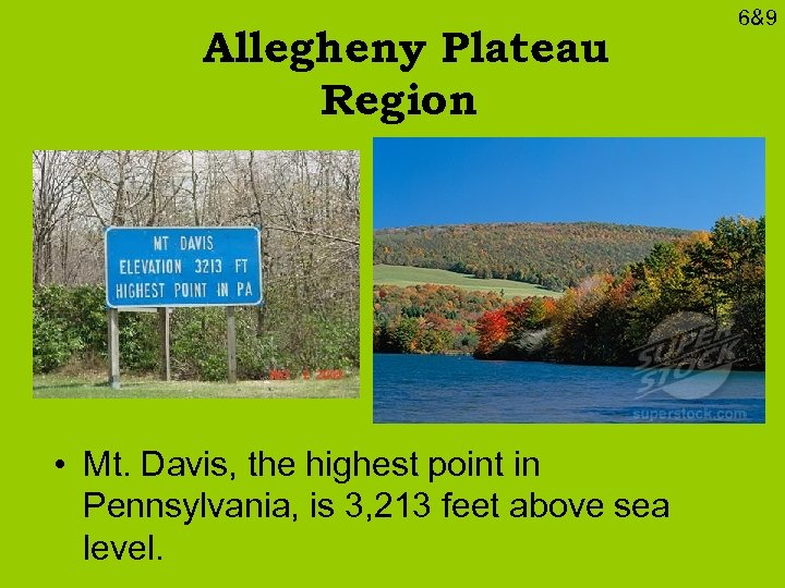 Allegheny Plateau Region • Mt. Davis, the highest point in Pennsylvania, is 3, 213
