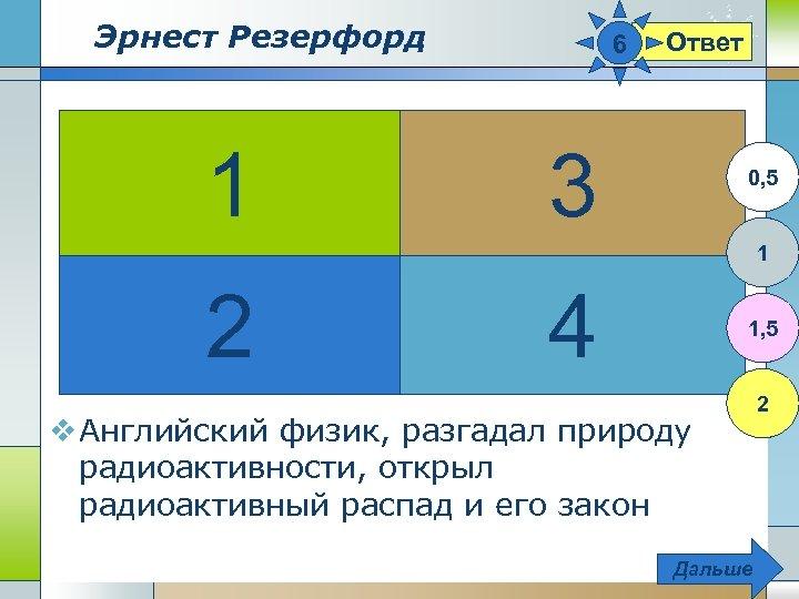 Эрнест Резерфорд 1 6 Ответ 3 0, 5 1 2 4 1, 5 v