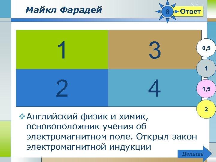Майкл Фарадей 1 8 Ответ 3 0, 5 1 2 4 1, 5 v