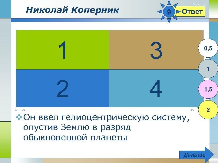 Николай Коперник 1 9 3 Ответ 0, 5 1 2 4 1, 5 2