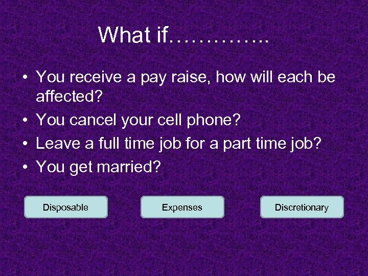 What if…………. . • You receive a pay raise, how will each be affected?