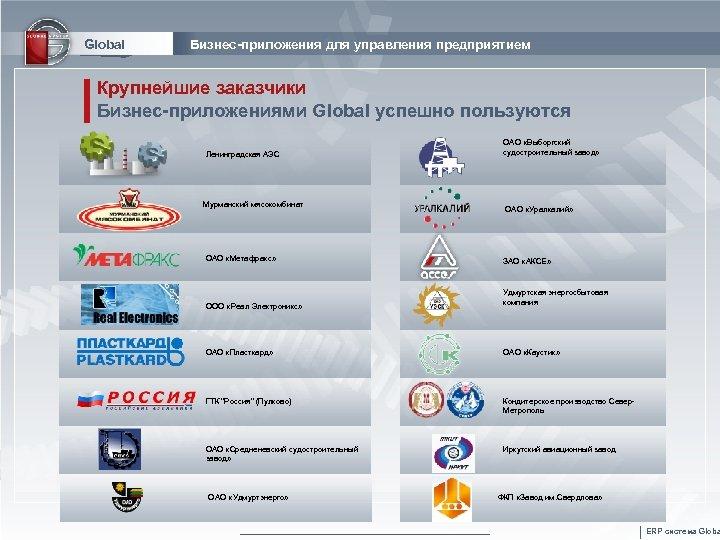 Global Бизнес-приложения для управления предприятием Крупнейшие заказчики Бизнес-приложениями Global успешно пользуются Ленинградская АЭС Мурманский
