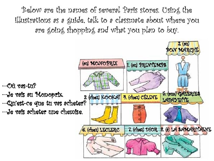Below are the names of several Paris stores. Using the illustrations as a guide,