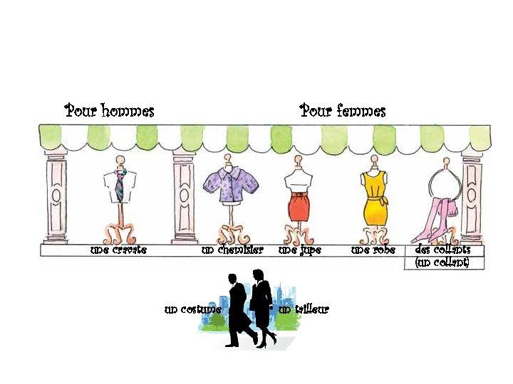 Pour hommes une cravate Pour femmes un chemisier un costume une jupe un tailleur