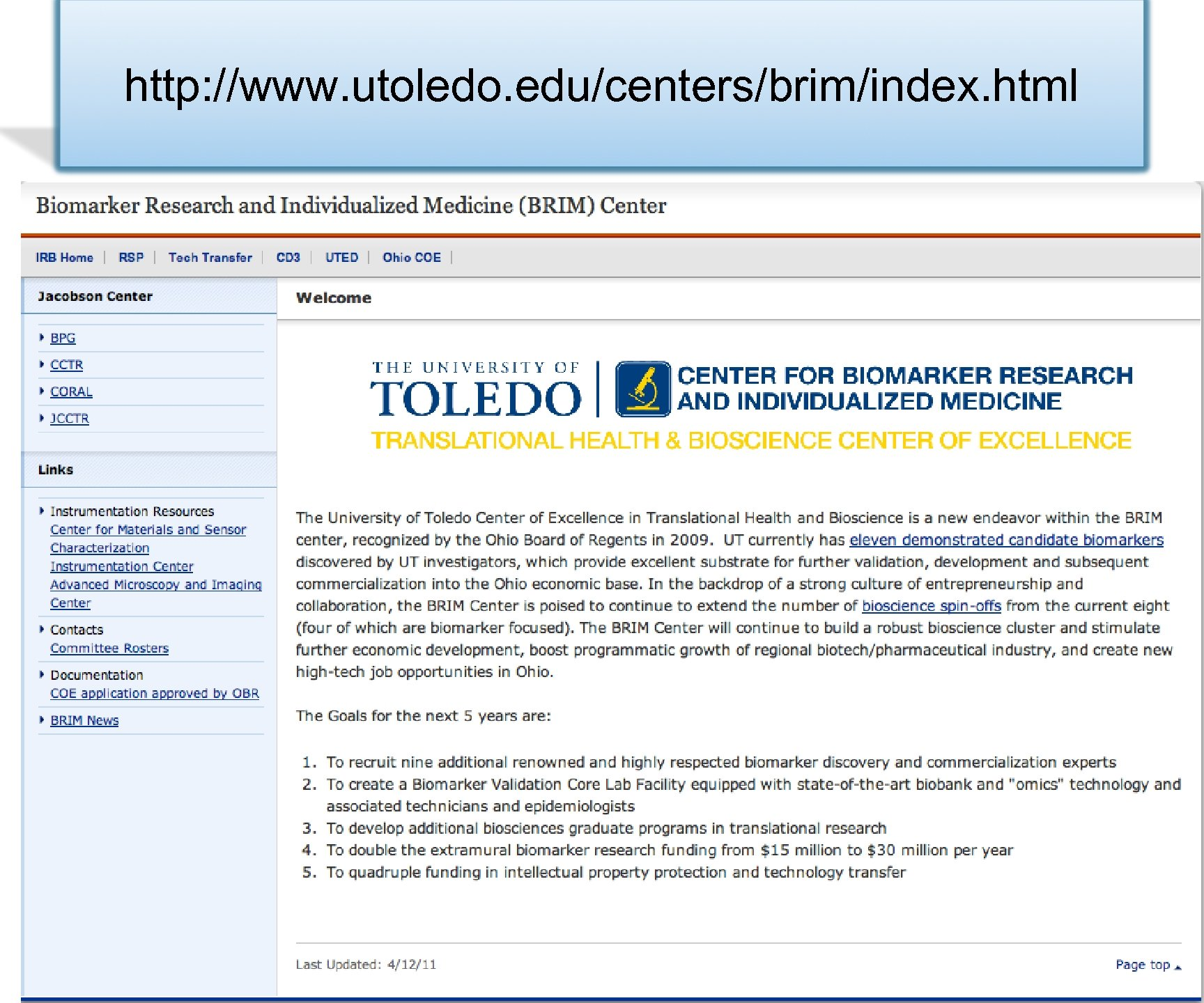 http: //www. utoledo. edu/centers/brim/index. html