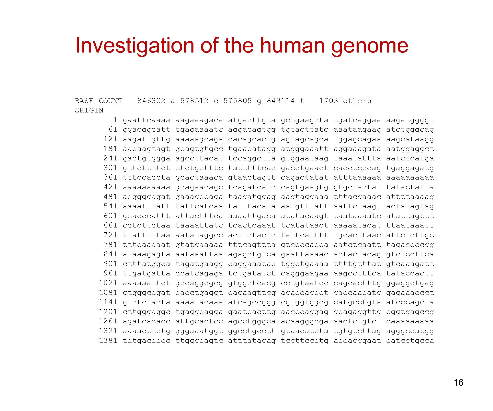 Investigation of the human genome BASE COUNT 846302 a 578512 c 575805 g 843114