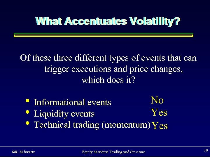 What Accentuates Volatility? Of these three different types of events that can trigger executions
