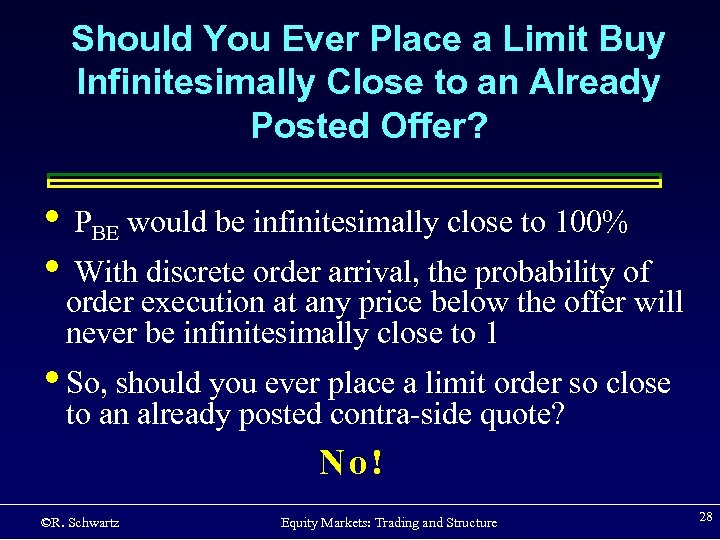 Should You Ever Place a Limit Buy Infinitesimally Close to an Already Posted Offer?