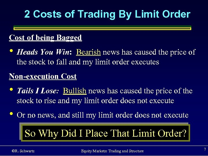 2 Costs of Trading By Limit Order Cost of being Bagged • Heads You
