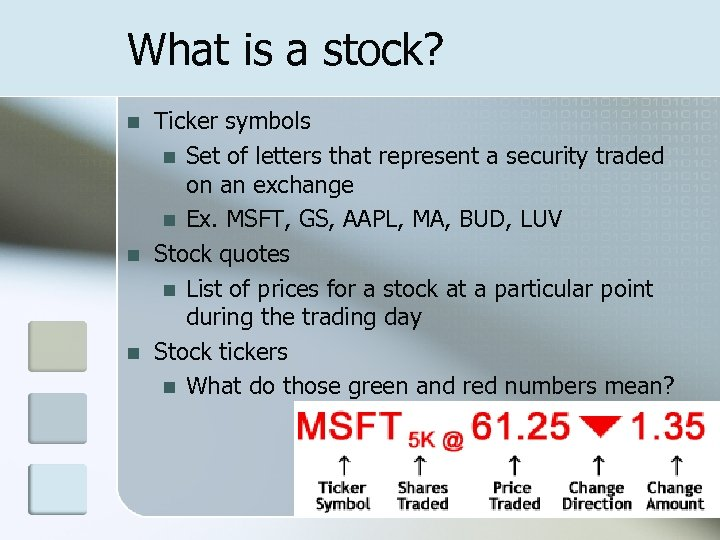 What is a stock? n n n Ticker symbols n Set of letters that