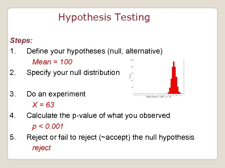 Hypothesis Testing Steps: 1. Define your hypotheses (null, alternative) Mean = 100 2. Specify