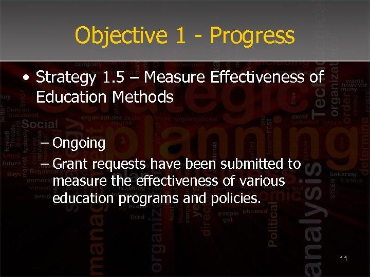 Objective 1 - Progress • Strategy 1. 5 – Measure Effectiveness of Education Methods