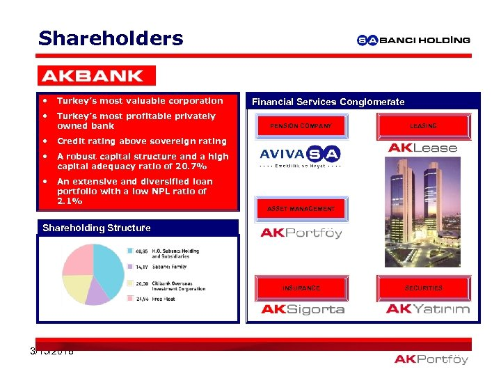 Shareholders • Turkey's most valuable corporation • Turkey's most profitable privately owned bank •