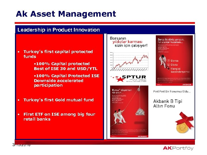Ak Asset Management Leadership in Product Innovation • Turkey's first capital protected funds •