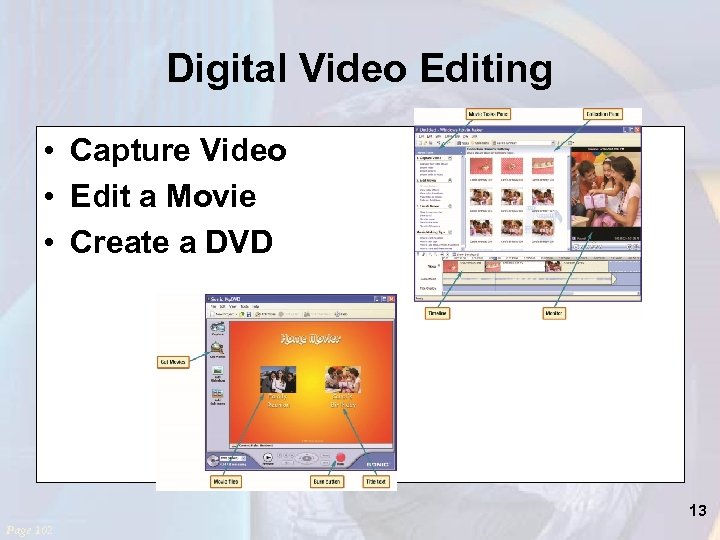 Digital Video Editing • Capture Video • Edit a Movie • Create a DVD