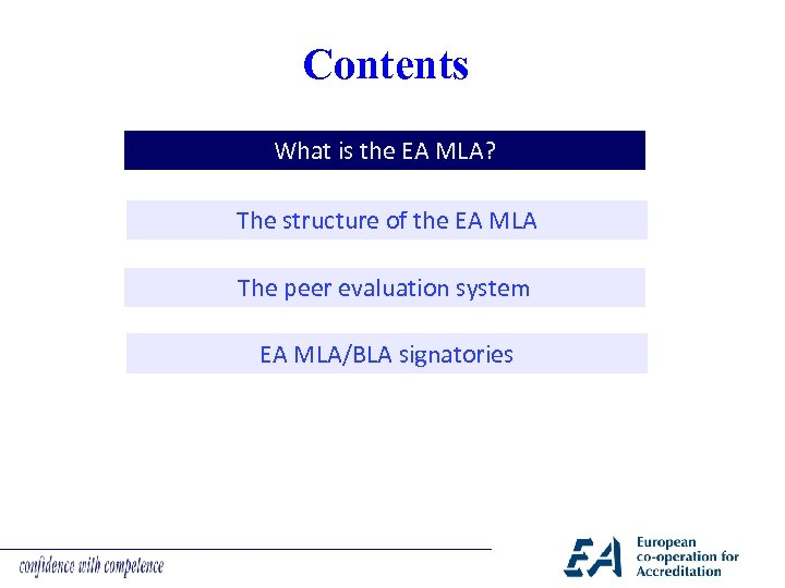 Contents What is the EA MLA? The structure of the EA MLA The peer