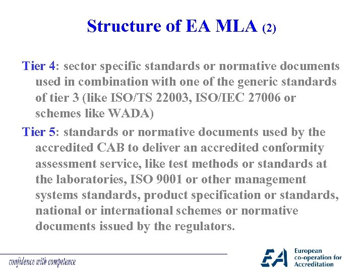 Structure of EA MLA (2) Tier 4: sector specific standards or normative documents used