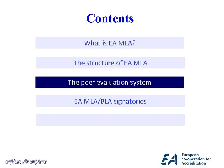 Contents What is EA MLA? The structure of EA MLA The peer evaluation system
