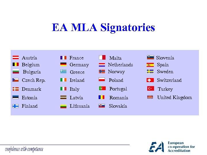 EA MLA Signatories Austria Belgium Bulgaria France Germany Greece Malta Netherlands Norway Slovenia Spain