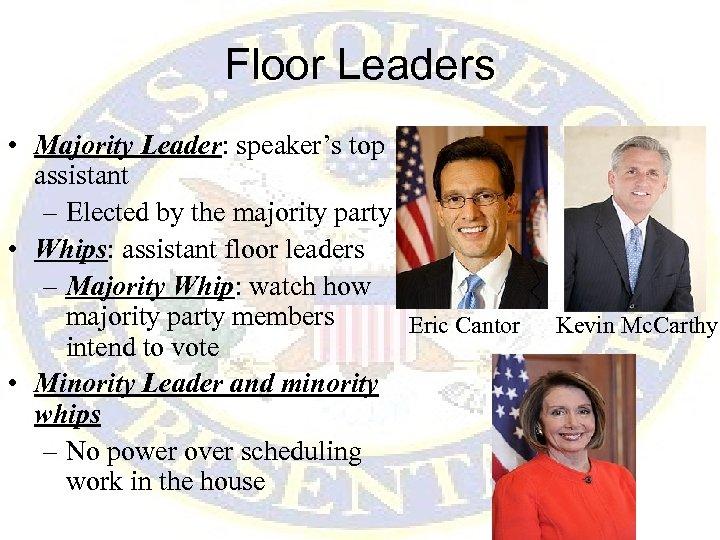 Floor Leaders • Majority Leader: speaker's top assistant – Elected by the majority party