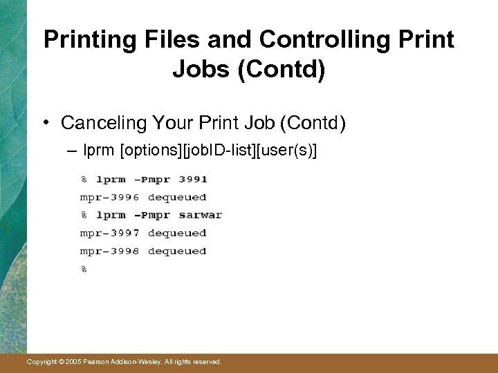 Printing Files and Controlling Print Jobs (Contd) • Canceling Your Print Job (Contd) –