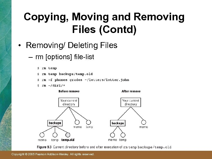 Copying, Moving and Removing Files (Contd) • Removing/ Deleting Files – rm [options] file-list
