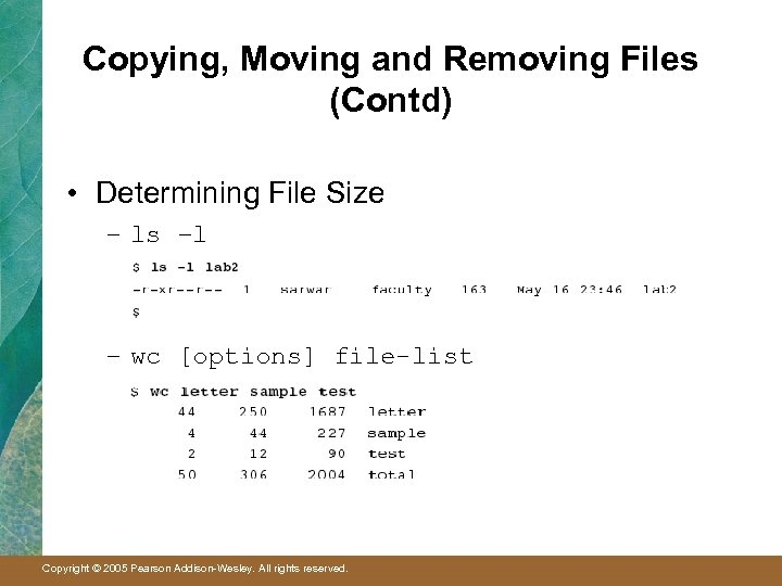 Copying, Moving and Removing Files (Contd) • Determining File Size – ls –l –