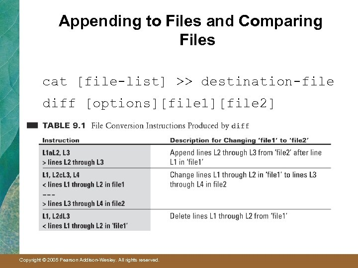 Appending to Files and Comparing Files cat [file-list] >> destination-file diff [options][file 1][file 2]