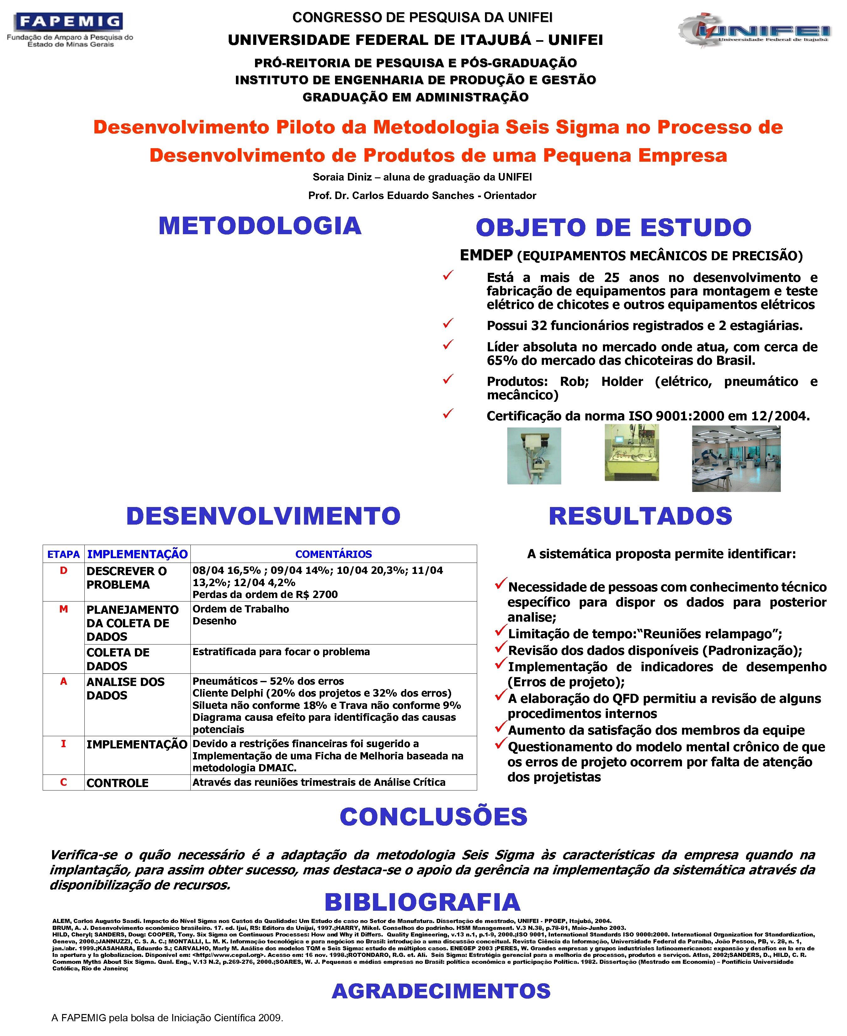 CONGRESSO DE PESQUISA DA UNIFEI UNIVERSIDADE FEDERAL DE ITAJUBÁ – UNIFEI PRÓ-REITORIA DE PESQUISA