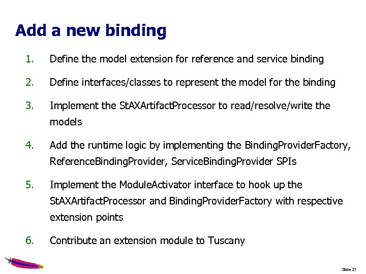 Add a new binding 1. Define the model extension for reference and service binding