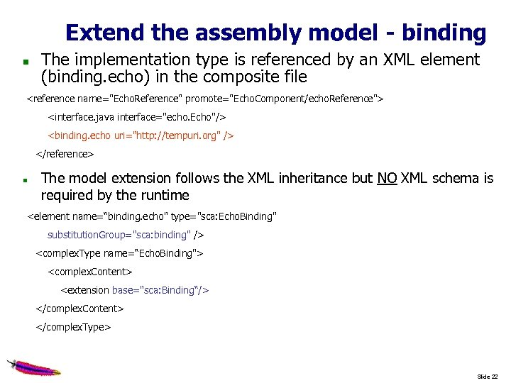 Extend the assembly model - binding The implementation type is referenced by an XML