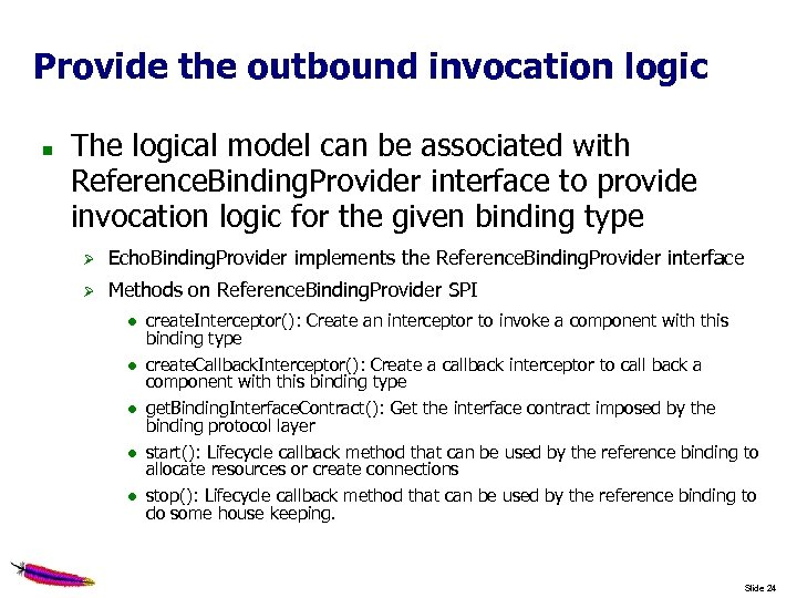 Provide the outbound invocation logic The logical model can be associated with Reference. Binding.