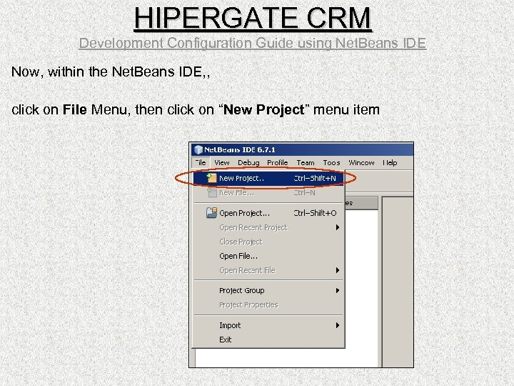 HIPERGATE CRM Development Configuration Guide using Net. Beans IDE Now, within the Net. Beans