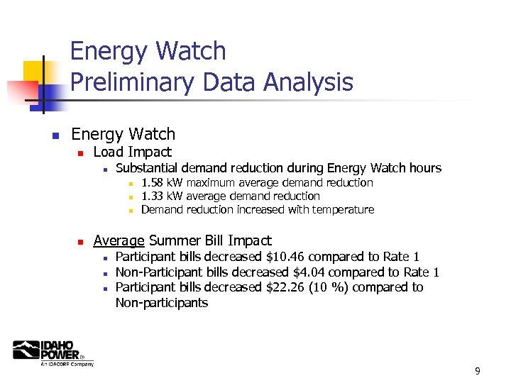 Energy Watch Preliminary Data Analysis n Energy Watch n Load Impact n Substantial demand