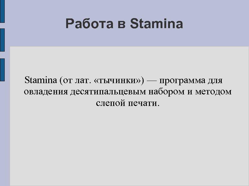 Работа в Stamina (от лат. «тычинки» ) — программа для овладения десятипальцевым набором и
