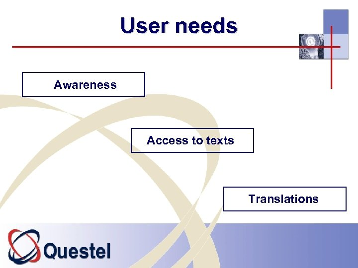 User needs Awareness Access to texts Translations