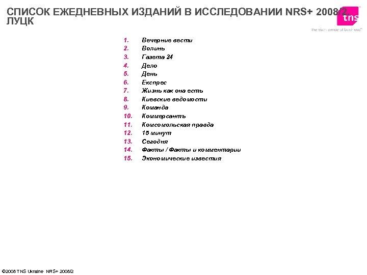 СПИСОК ЕЖЕДНЕВНЫХ ИЗДАНИЙ В ИССЛЕДОВАНИИ NRS+ 2008/2. ЛУЦК 1. 2. 3. 4. 5. 6.