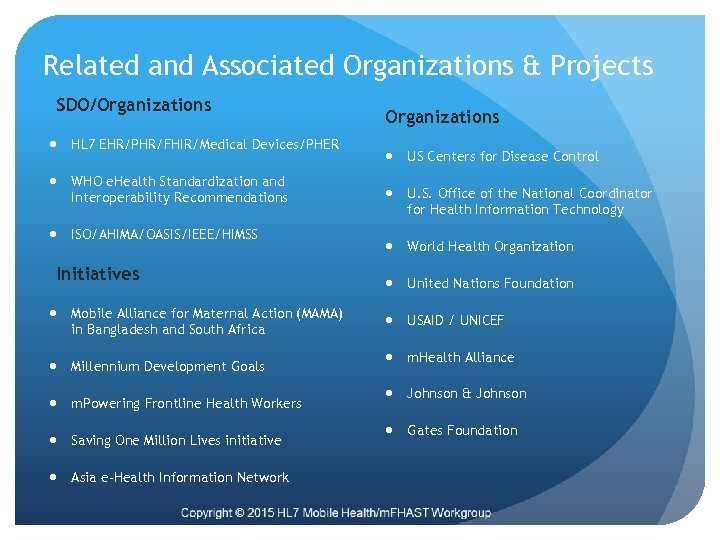Related and Associated Organizations & Projects SDO/Organizations HL 7 EHR/PHR/FHIR/Medical Devices/PHER WHO e. Health