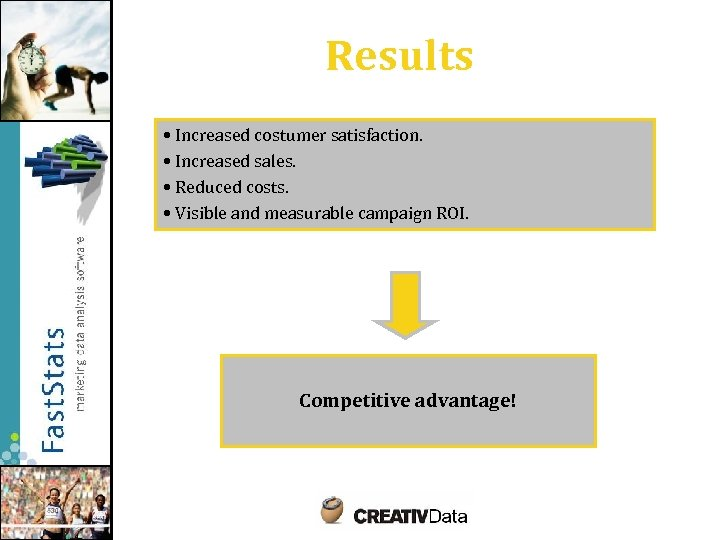 Results • Increased costumer satisfaction. • Increased sales. • Reduced costs. • Visible and