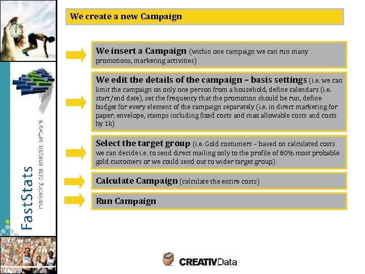 We create a new Campaign We insert a Campaign (within one campaign we can