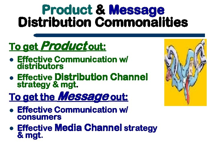 Product & Message Distribution Commonalities To get Product out: l l Effective Communication w/