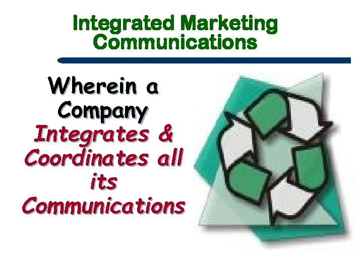 Integrated Marketing Communications Wherein a Company Integrates & Coordinates all its Communications